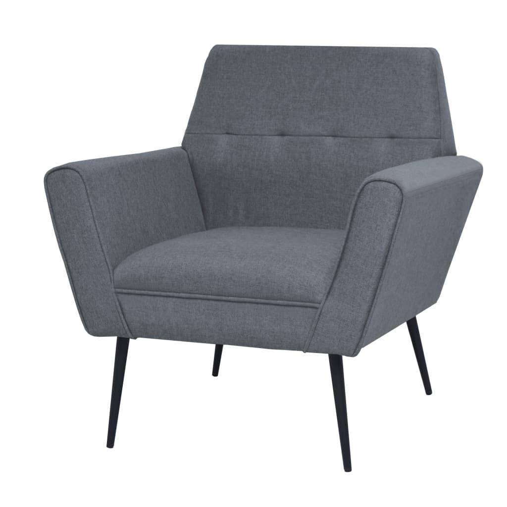 vidaXL Fotel, jasnoszary, stal i tkanina