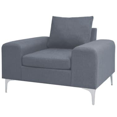 vidaXL Fotel materiałowy z poduszką, stalowe nogi, jasnoszary[1/11]