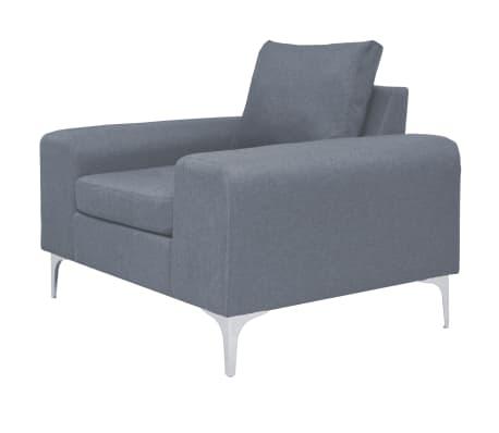 vidaXL Fotel materiałowy z poduszką, stalowe nogi, jasnoszary[2/11]
