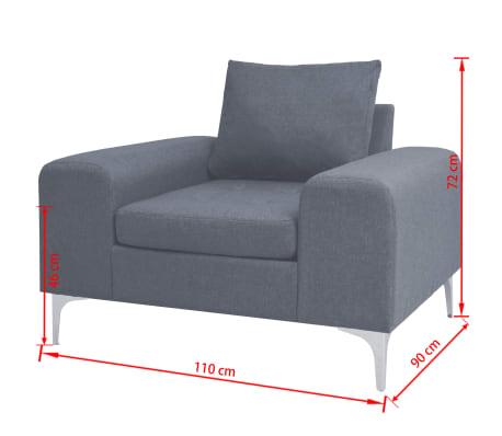 vidaXL Fotel materiałowy z poduszką, stalowe nogi, jasnoszary[11/11]