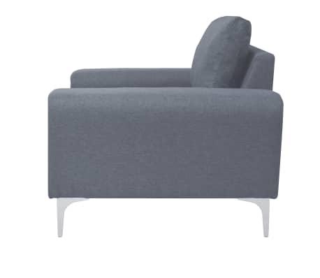 vidaXL Fotel materiałowy z poduszką, stalowe nogi, jasnoszary[3/11]