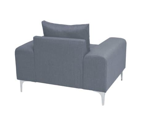 vidaXL Fotel materiałowy z poduszką, stalowe nogi, jasnoszary[5/11]