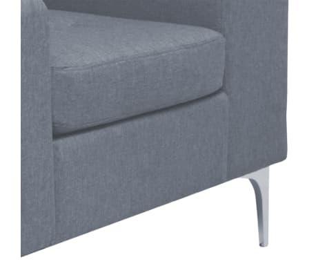 vidaXL Fotel materiałowy z poduszką, stalowe nogi, jasnoszary[6/11]