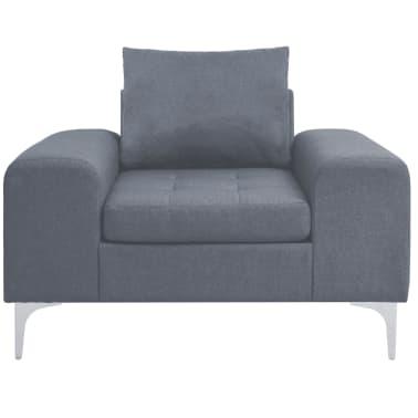 vidaXL Fotel materiałowy z poduszką, stalowe nogi, jasnoszary[4/11]