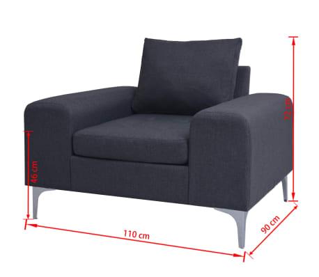 vidaXL Fåtölj med kudde stål och tyg mörkgrå[11/11]