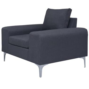 vidaXL Poltrona com almofada em aço e tecido cinzento escuro[2/11]