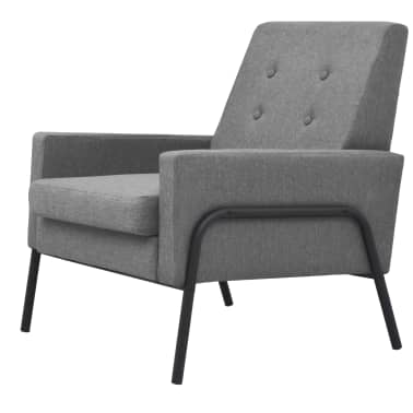 vidaXL Armchair Steel and Fabric Light Grey[2/6]