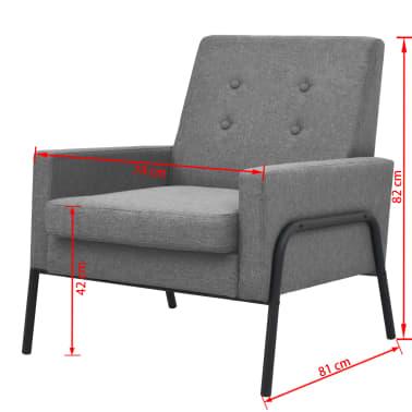 vidaXL Armchair Steel and Fabric Light Grey[6/6]