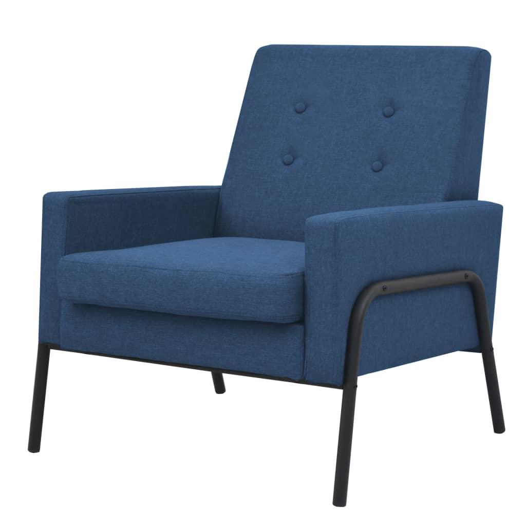 vidaXL Fotel, niebieski, stal i tkanina