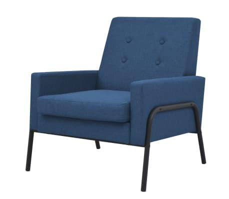 vidaXL Fåtölj blå stål och tyg