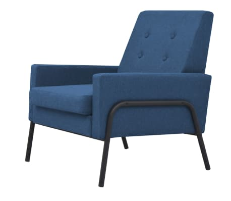 vidaXL Fåtölj stål och tyg blå[2/6]