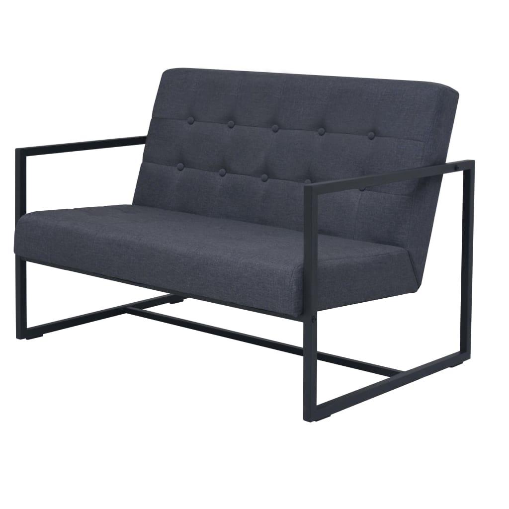 Tweezitsbank met armleuningen staal en stof donkergrijs