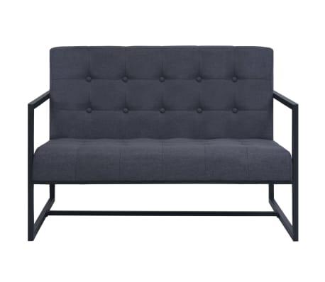 vidaXL Dvivietė sofa su porankiais, plienas, tamsiai pilkas audinys[3/6]