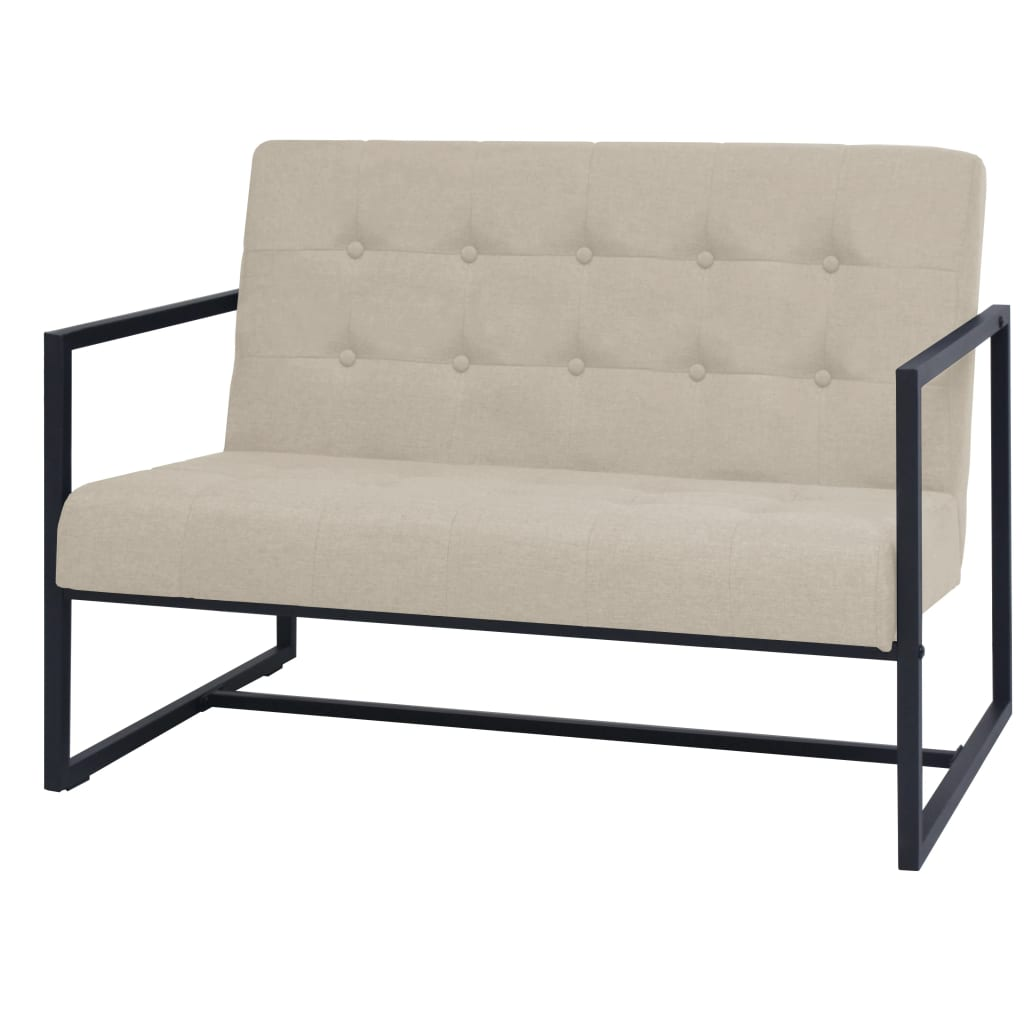 vidaXL Canapea cu 2 locuri și brațe, oțel și material textil, crem poza vidaxl.ro