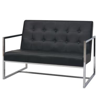 vidaXL Dvivietė sofa su porankiais, dirbtinė oda ir plienas, juoda[2/6]