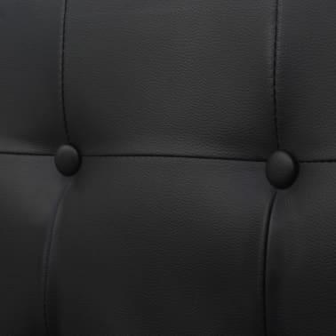 vidaXL Dvivietė sofa su porankiais, dirbtinė oda ir plienas, juoda[5/6]
