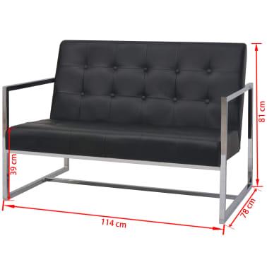 vidaXL Dvivietė sofa su porankiais, dirbtinė oda ir plienas, juoda[6/6]