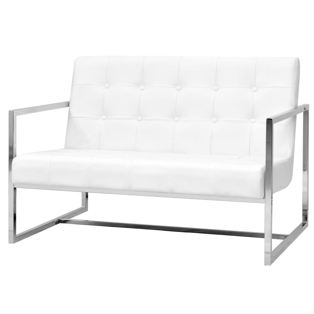 vidaXL 2-osobowa sofa z podłokietnikami, sztuczna skóra i stal, biała