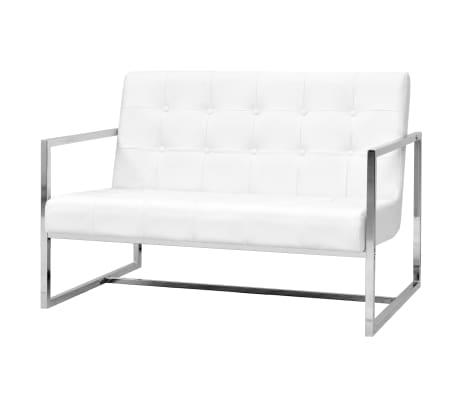 vidaXL Dvivietė sofa su porankiais, dirbtinė oda ir plienas, balta