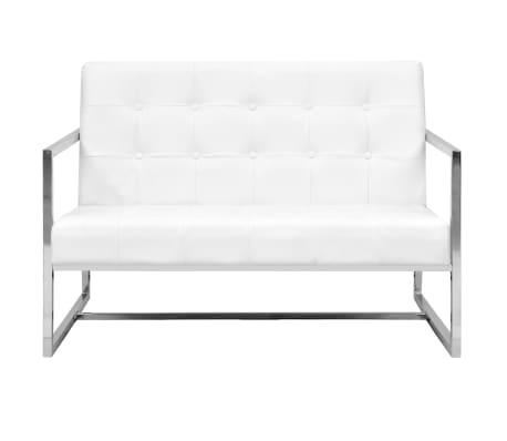 vidaXL Dvivietė sofa su porankiais, dirbtinė oda ir plienas, balta[2/6]