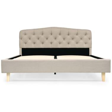 vidaXL Cadre de lit Tissu avec base à lattes 140 x 200 cm Beige[3/8]