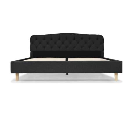 vidaXL Cadre de lit Tissu avec sommier à lattes 160x200 cm Gris foncé[3/8]