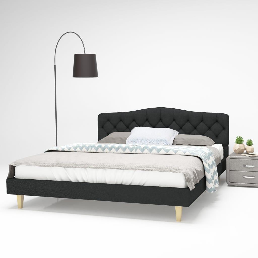 vidaXL Πλαίσιο Κρεβατιού με Σανίδες Σκούρο Γκρι 160×200 εκ. Υφασμάτινο