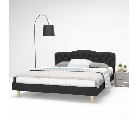 acheter vidaxl cadre de lit tissu avec sommier lattes 160x200 cm gris fonc pas cher. Black Bedroom Furniture Sets. Home Design Ideas