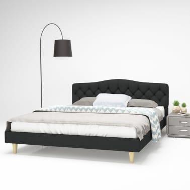 vidaXL Cadre de lit Tissu avec sommier à lattes 160x200 cm Gris foncé[1/8]