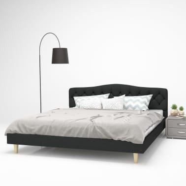 acheter vidaxl cadre de lit tissu avec sommier lattes 180x200 cm gris fonc pas cher. Black Bedroom Furniture Sets. Home Design Ideas