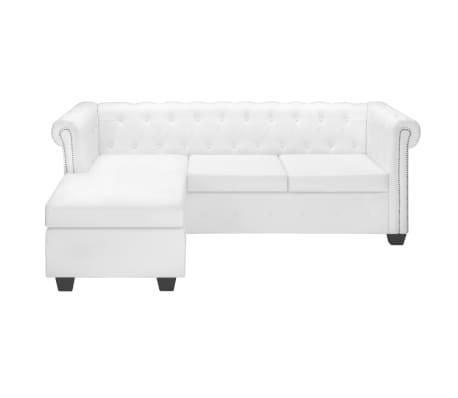 vidaXL L-formos Chesterfield sofa, dirbtinė oda, balta[2/7]