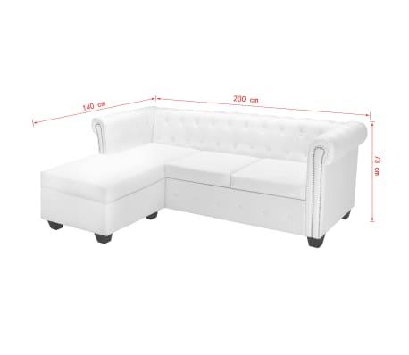 vidaxl chesterfield sofa in l form kunstleder wei g nstig kaufen. Black Bedroom Furniture Sets. Home Design Ideas