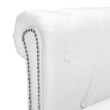 vidaXL L-formos Chesterfield sofa, dirbtinė oda, balta[4/7]