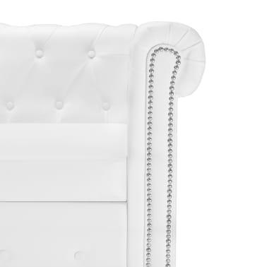 vidaXL L-formos Chesterfield sofa, dirbtinė oda, balta[5/7]