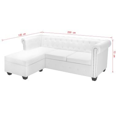 vidaXL L-formos Chesterfield sofa, dirbtinė oda, balta[7/7]
