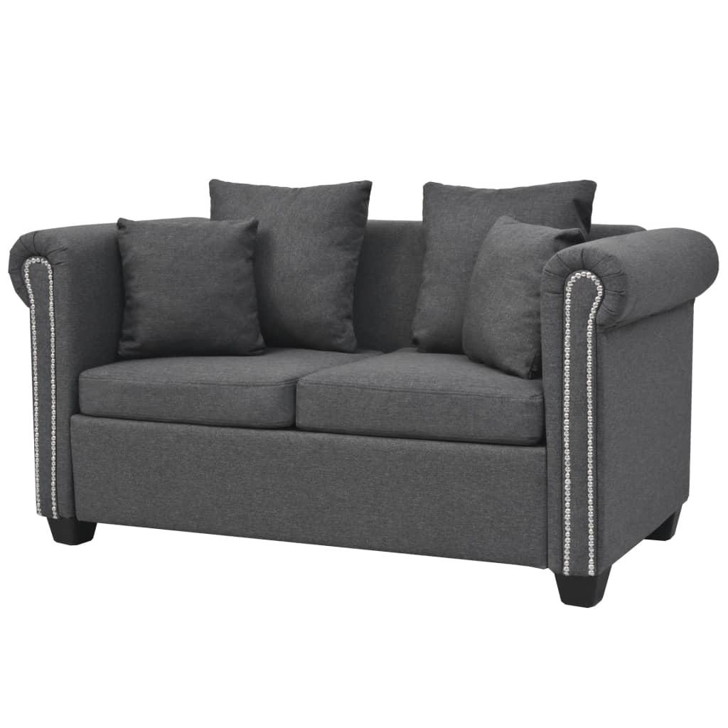 vidaXL 2-osobowa sofa materiałowa, 143x75x73 cm, ciemnoszara
