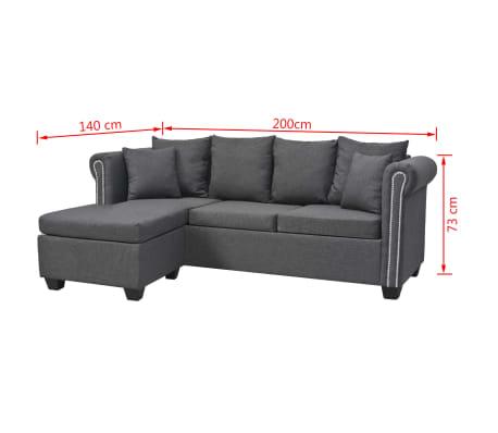 Magnificent Vidaxl L Formiges Sofa Stoff 200 X 140 X 73 Cm Dunkelgrau Interior Design Ideas Greaswefileorg