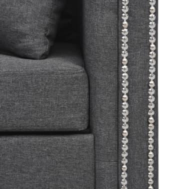 vidaXL Canapé en forme de L Tissu 200 x 140 x 73 cm Gris foncé[6/9]