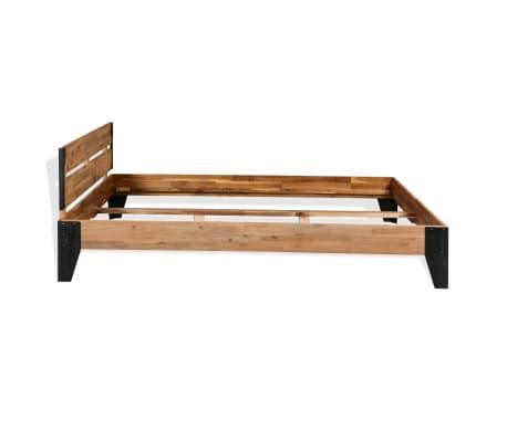 vidaXL Lova su Memory čiužiniu, akacijos mediena, plienas, 140x200cm[3/11]