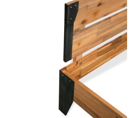 vidaXL Lova su Memory čiužiniu, akacijos mediena, plienas, 140x200cm[5/11]