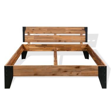 vidaXL Lova su Memory čiužiniu, akacijos mediena, plienas, 140x200cm[4/11]
