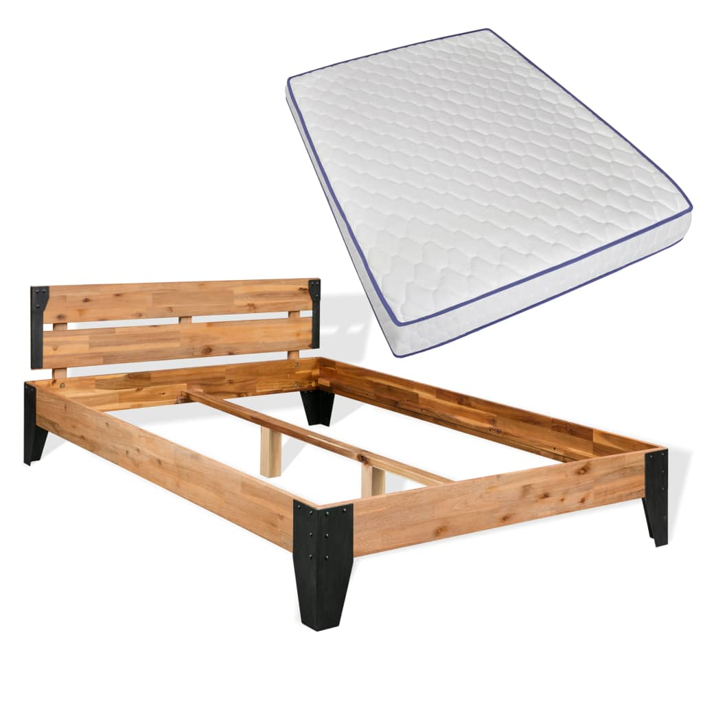 vidaXL Κρεβάτι 140×200 εκ. Ξύλο Ακακίας/Ατσάλι με Στρώμα Αφρού Μνήμης