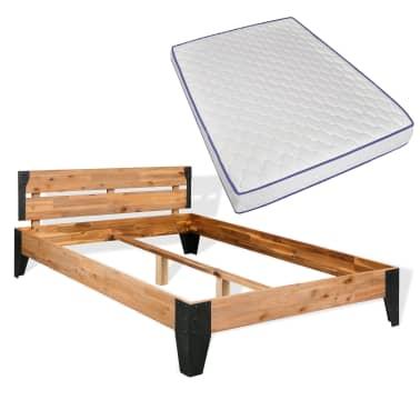 vidaXL Lova su Memory čiužiniu, akacijos mediena, plienas, 140x200cm[1/13]
