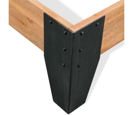 vidaXL Lova su Memory čiužiniu, akacijos mediena, plienas, 140x200cm[6/13]