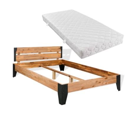 vidaXL Bett mit Matratze Massives Akazienholz Stahl 180x200cm[1/11]