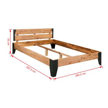 vidaXL Bett mit Memory-Matratze Akazienholz Massiv Stahl 180x200cm[7/13]