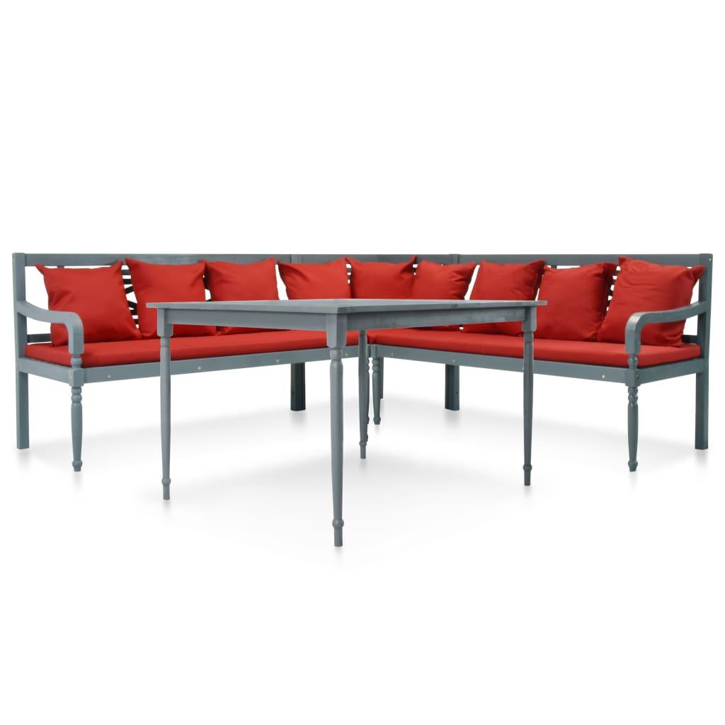 vidaXL 4-delige Loungeset massief acaciahout grijs en rood