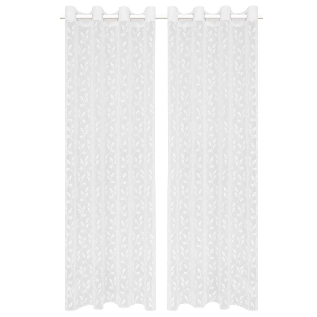 vidaXL Zvlněné pletené průsvitné záclony 2 ks 140 x 225 cm bílé listy