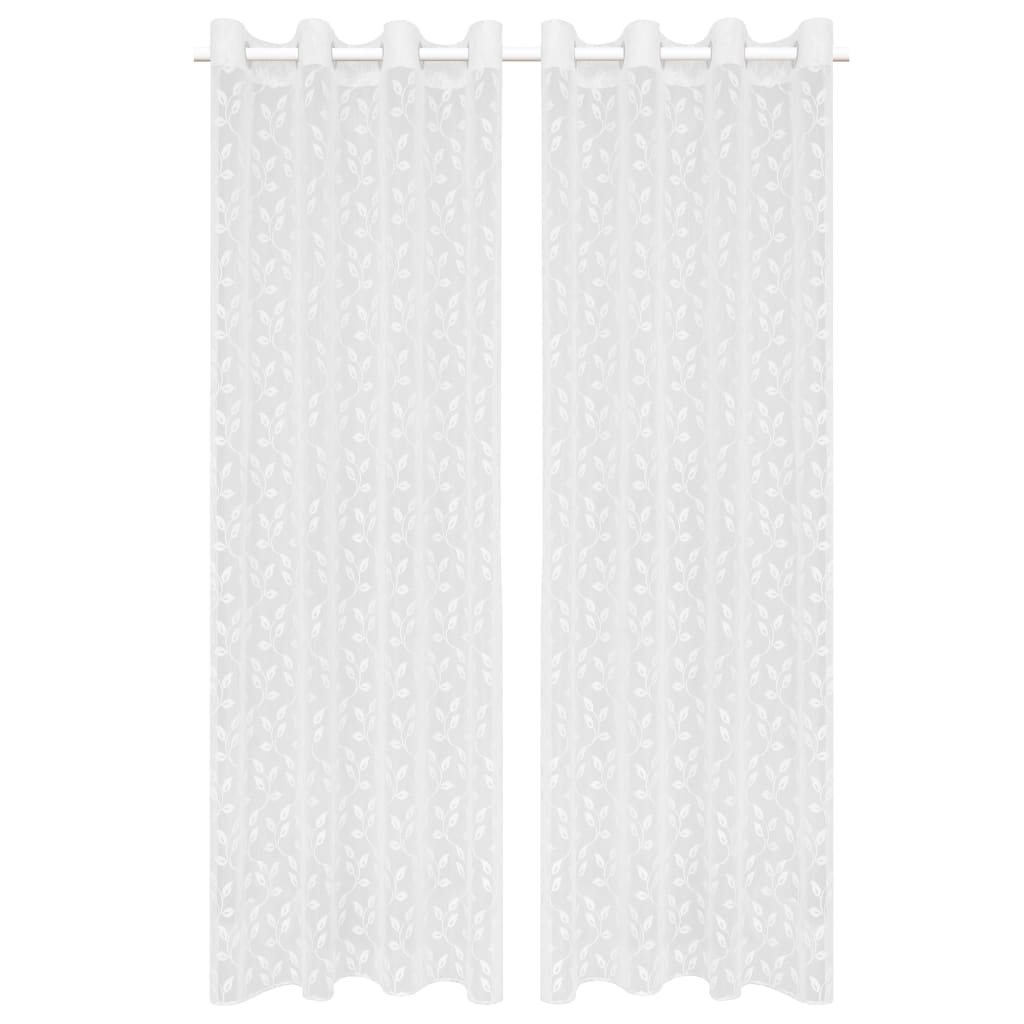 vidaXL Κουρτίνες Διάφανες Warp Knit 2 τεμ. Φύλλα Λευκές 140 x 225 εκ.