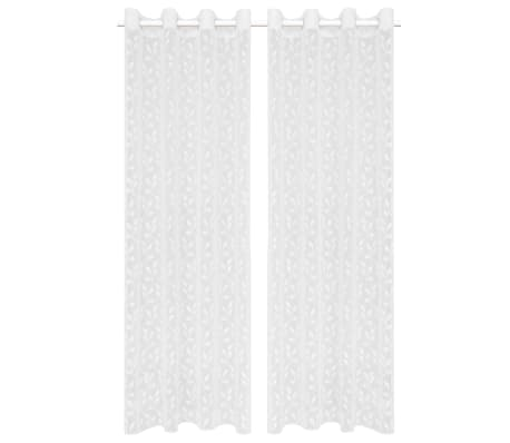 vidaXL Perdele transparente brodate, 2 buc., 140 x 225 cm, frunze, alb
